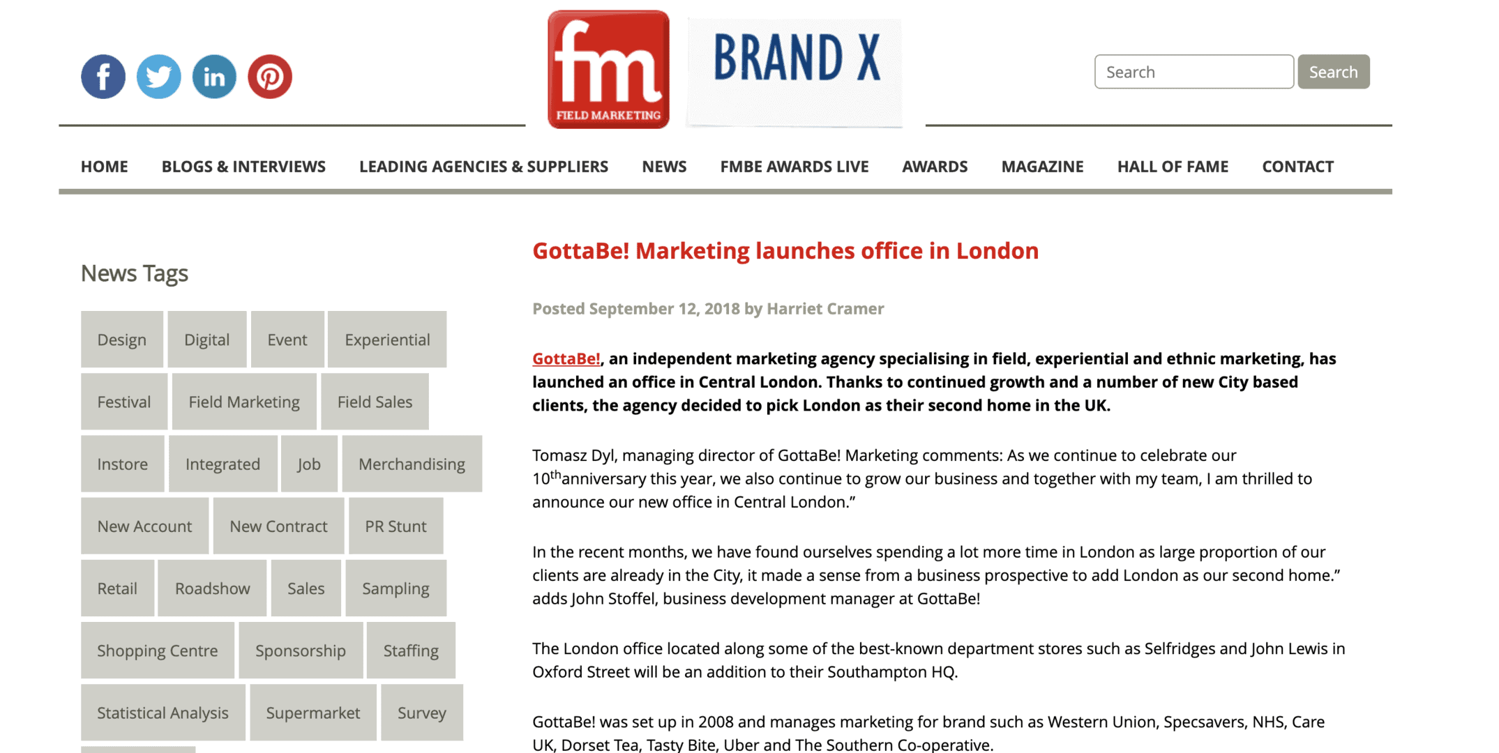 "Featured image for ""We're featured in Field Marketing Magazine as a leading agency and supplier!"""