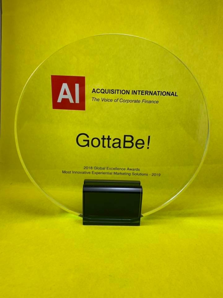 GottaBe Wins Most Innovative Experiential Marketing Solutions 2019 Award