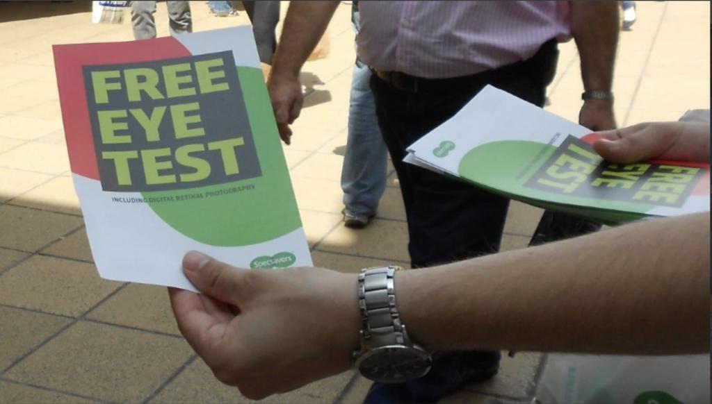 Free eye test field marketing leaflet